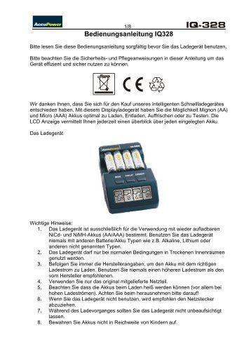 Bedienungsanleitung IQ328-V01 - Accu Power