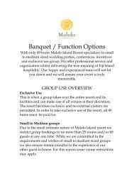 Banquet / Function Options - Malolo Island Resort