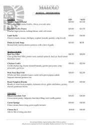 DINNER MENU ENTREE FJD *AUD Smoked Salmon Salad $19.00 ...