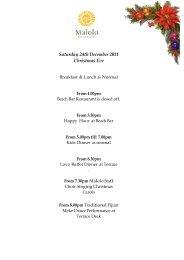 Saturday 24th December 2011 Christmas Eve - Malolo Island Resort