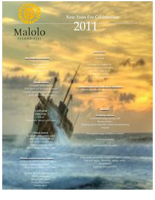 New Years Eve Celebrations - Malolo Island Resort