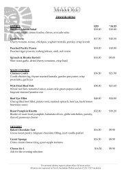 DINNER MENU ENTREE FJD *AUD Smoked Salmon Salad $18.00 ...