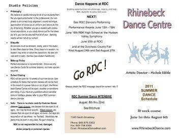 2011 SUMMER DANCE Schedule Dance Happens at RDC 10 week ...