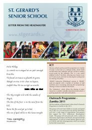 Headmaster's Christmas Newsletter 2010 - St. Gerard's School