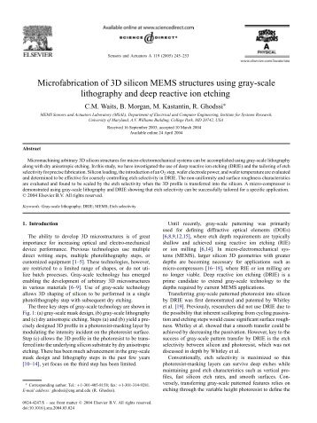 Microfabrication of 3D silicon MEMS structures using gray-scale ...