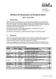 Definition der Rassecodes und Herdebuch-Stufen - Swissherdbook