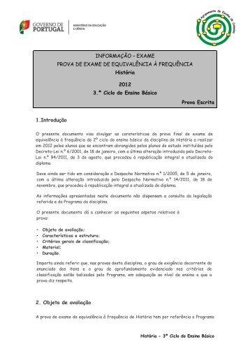 1.Introdução 2. Objeto de avaliação INFORMAÇÃO – EXAME ...