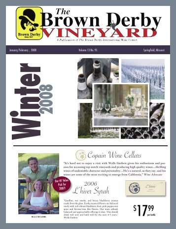 Copain Wine Cellars 2006 L'hiver Syrah - Brown Derby International ...