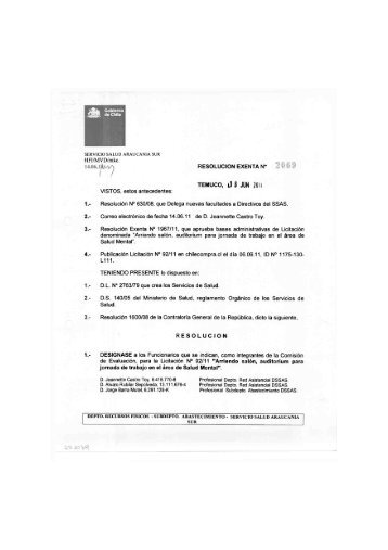 RESOLUCION EXENTA N* TEMUCO, kl B JUN 2011 VISTOS, estos ...