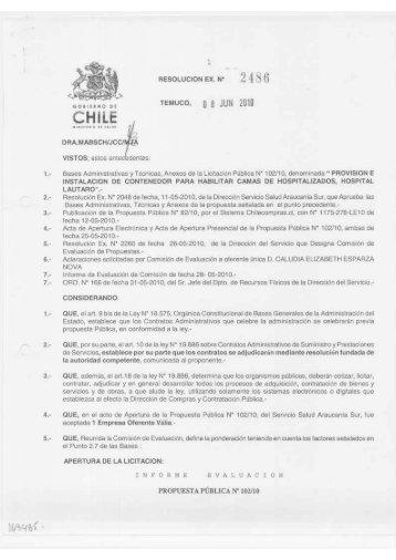 1 RESOLUCION EX. N* 2 4 8 6 TEMUCO, 0 8 JUN 2010 i I I iml«H ...