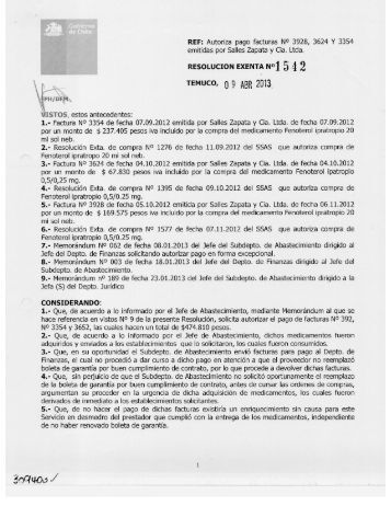 REF: Autoriza pago facturas N° 3928, 3624 Y 3354 emitidas por ...