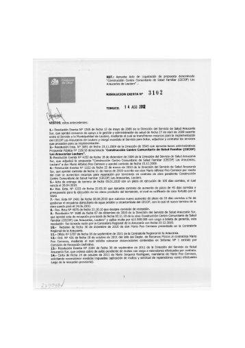 3102 1 4 AGO 2012 - Servicio Salud Araucanía Sur