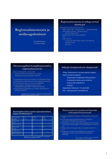 Regionaalanesteesia ja antikoagulatsioon