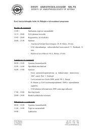Tegevuskava - Eesti Anestesioloogide selts