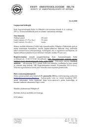 Kutse ja programm - Eesti Anestesioloogide selts