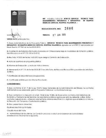Adjudica licitación N°89/13 SERVICIO TECNICO PARA ...