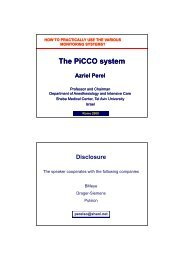 The PiCCO system The PiCCO system