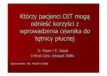 Korzyści zastosowania cewnika Swana-Ganza u pacjentów ...