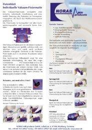 Technische Daten Vakuum-Fixiermatten
