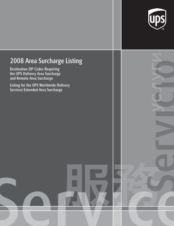 2008 Area Surcharge Listing