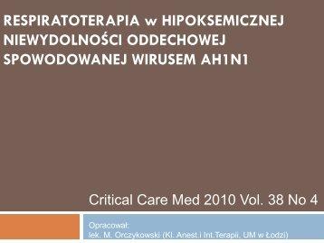Critical Care Med 2010 Vol. 38 No 4