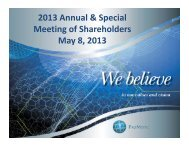 2013 Annual & Special M ti f Sh h ld Meeting of Shareholders May 8 ...