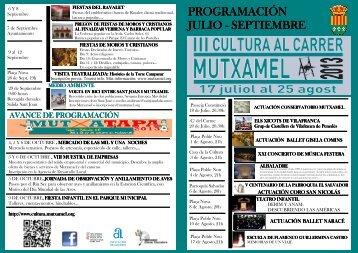 Programación Cultural Julio- Septiembre 2013 - Mutxamel
