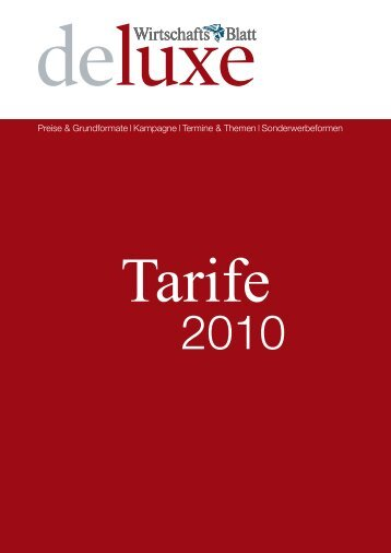 Tarife - Wirtschaftsblatt
