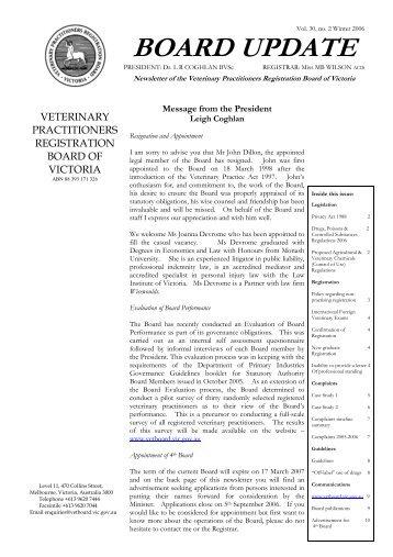 board update - Veterinary Practitioners Registration Board of Victoria