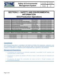 2. Safety and Environmental Information - Stone Energy Corporation