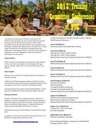 2013 Training Committee Conferences at PTC - Philmont Scout Ranch