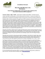 Media Release - GRPs Number Over 300 - Green Roofs for Healthy ...