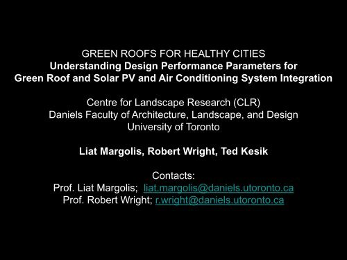 Liat Margolis, Robert Wright, Ted Kesik - Green Roofs for Healthy ...