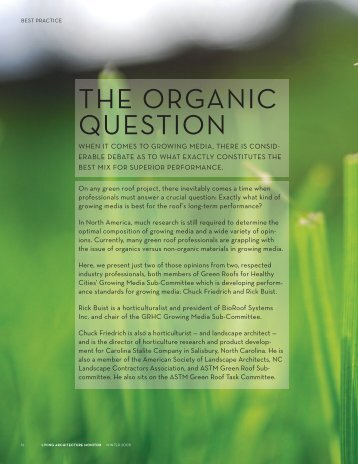 THE ORGANIC QUESTION - Green Roofs for Healthy Cities