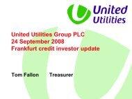 Frankfurt roadshow, September 2008 - About United Utilities