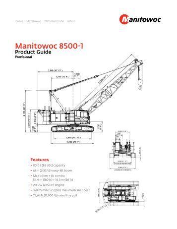 Manitowoc 2250 Crane Load chart for Hoists