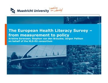 The European Health Literacy Survey - Iuhpe ...