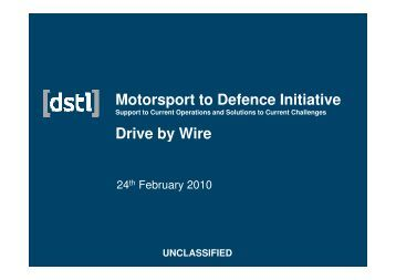 Dstl - Drive by Wire - Motorsport Industry Association