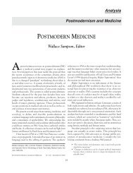 POSTMODERN MEDICINE - The Scientific Review of Alternative ...
