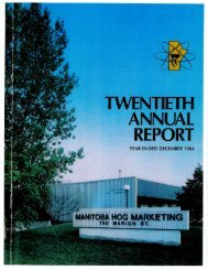 Manitoba Hog Producers' Marketing Board– 1984 Annual Report