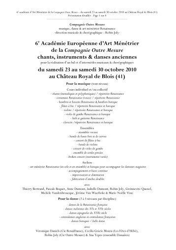 10 acam - dépliant + bulletin d'inscription au ... - Château de Blois