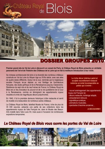 DOSSIER GROUPES 2010 - Château de Blois