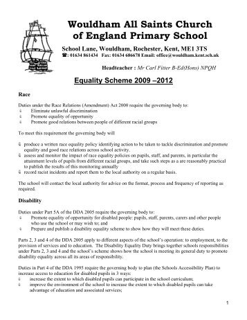 Equality Scheme - Wouldham All Saints C of E Primary School