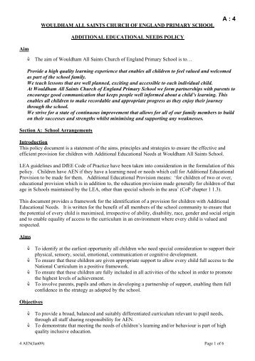 wouldham school policies - Wouldham All Saints C of E Primary ...