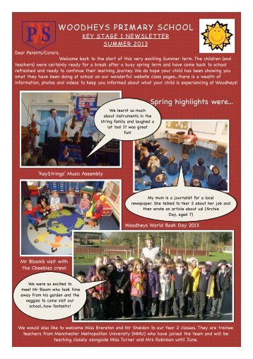 KS1 Summer Newsletter 2013 - Woodheys Primary School