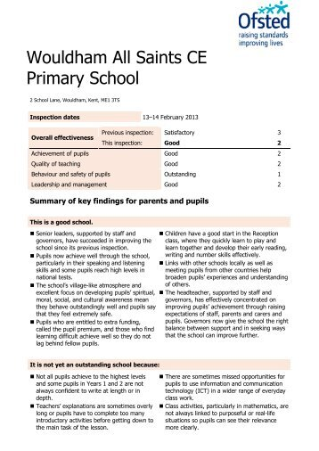 OFSTED Report - Wouldham All Saints C of E Primary School