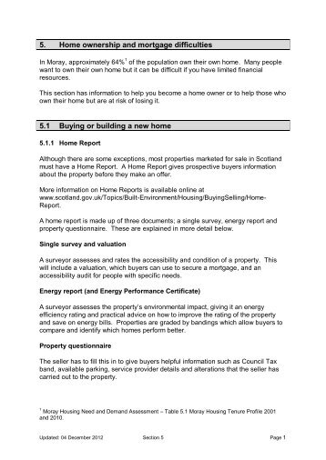 Section 5 - Home ownership and mortgage difficulties - The Moray ...