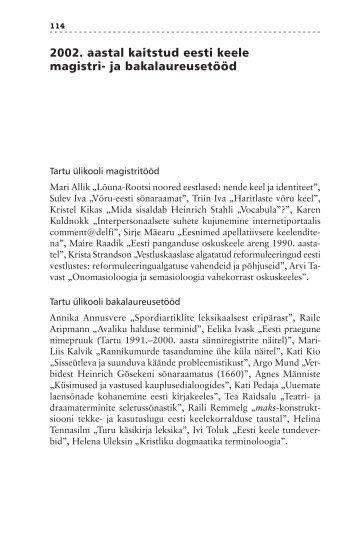 2002. aastal kaitstud eesti keele magistri- ja ... - Emakeele Selts