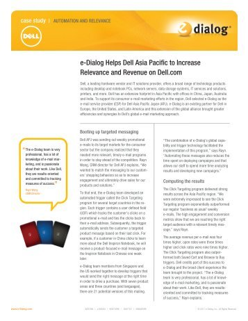 Page 1 e-Dialog Helps Dell Asia Pacific to Increase Relevance and ...