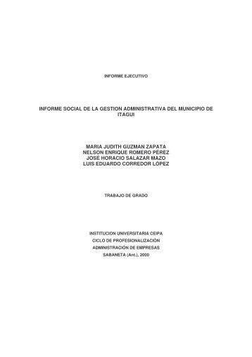 informe social de la gestion administrativa del municipio de itagui ...